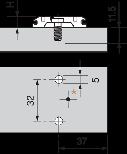 Blum CLIP Wing Mounting Plate Planning Graphic
